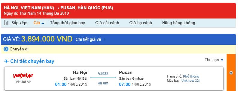 Giá vé một chiều từ Hà Nội - Busan