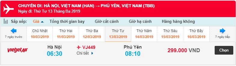 Giá vé máy bay từ Hà nội đi Phú Yên