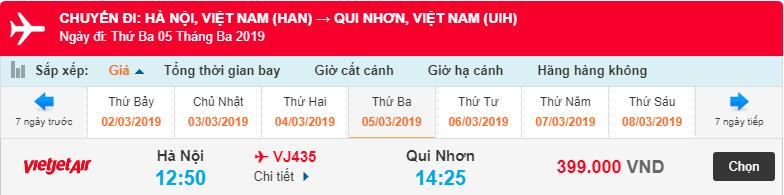 Giá vé máy bay Hà Nội đi Quy Nhơn