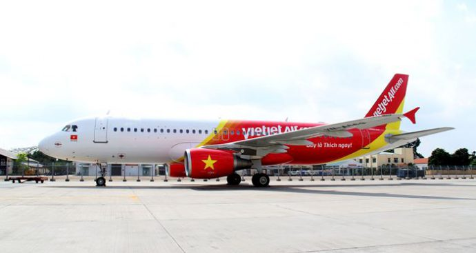 Tàu bay của Vietjet Air luôn rất nổi bật
