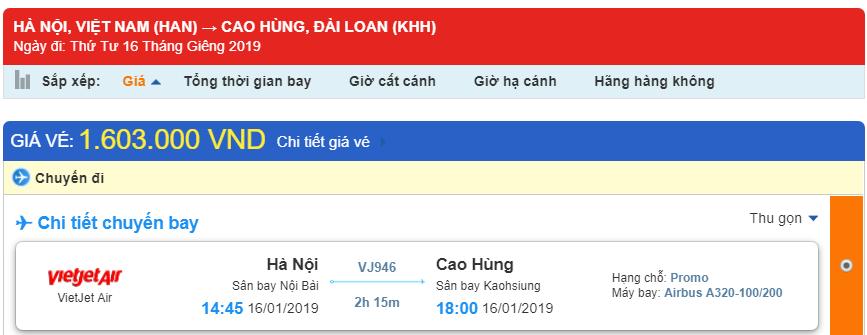 Giá vé máy bay đi Cao Hùng