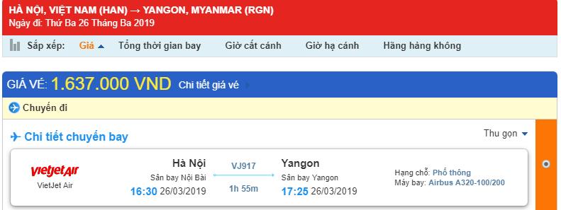 Giá vé máy bay HAN-RGN