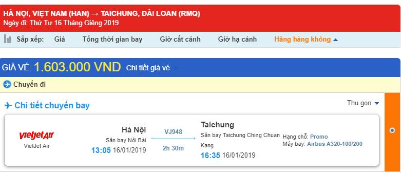 Tham khảo giá vé từ Hà Nội đi Đài Trung