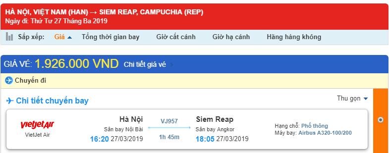 Giá vé máy bay Hà Nội - Siem Reap
