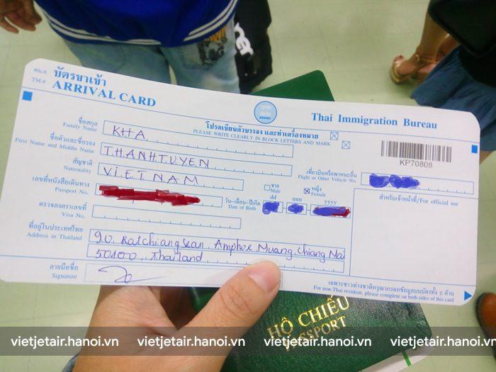 Mặt trước tờ khai nhập cảnh vào Thái Lan