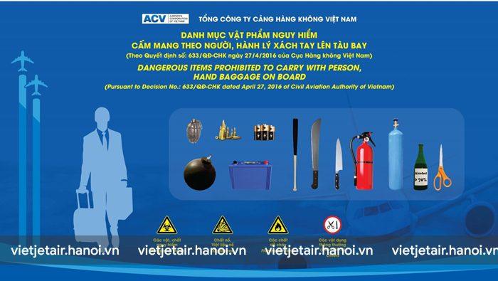 Những vật dụng cấm không được mang lên máy bay