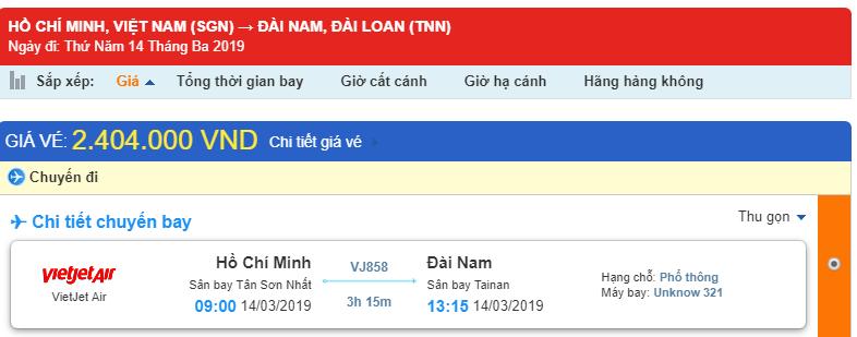 Giá vé từ Hồ Chí Minh - Đài Nam