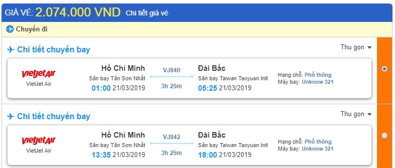 Giá vé Hồ Chí Minh đi Đài Bắc