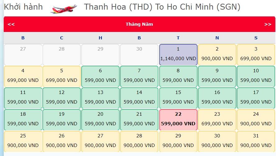 Giá vé từ Thanh Hóa - Hồ Chí Minh