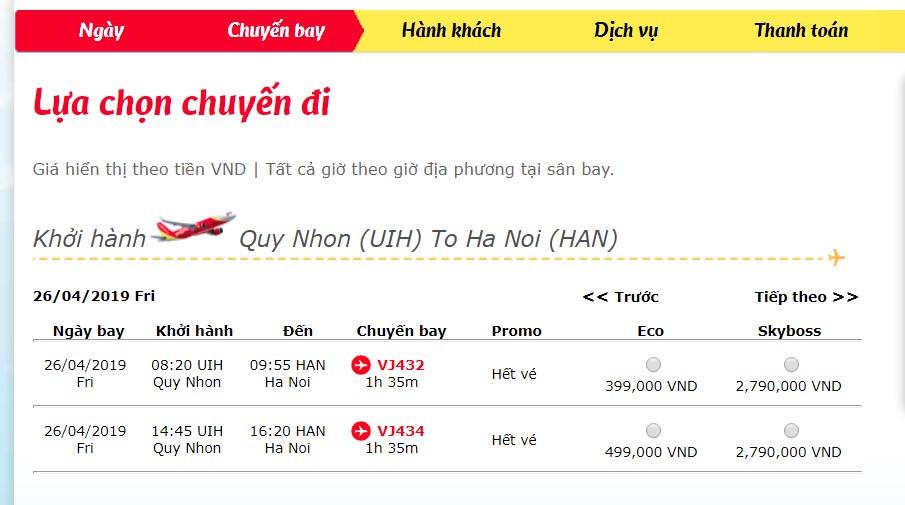 Giá vé Quy Nhơn đi Hà Nội chỉ từ 399.000đ