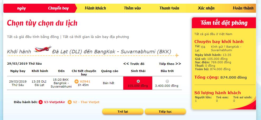 Tham khảo giá vé từ Đà Lạt đi Bangkok