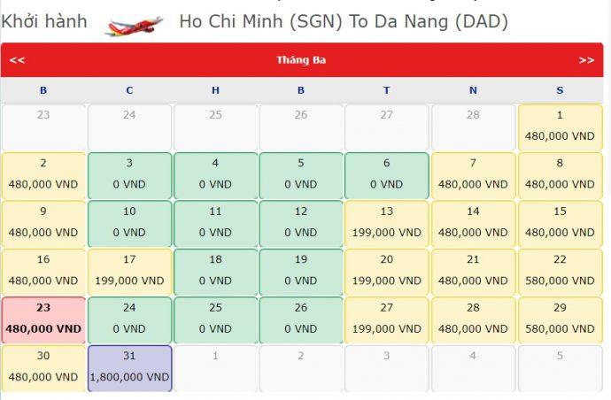 Vé Máy bay 0 đồng từ Hồ Chí Minh đi Đà Nẵng