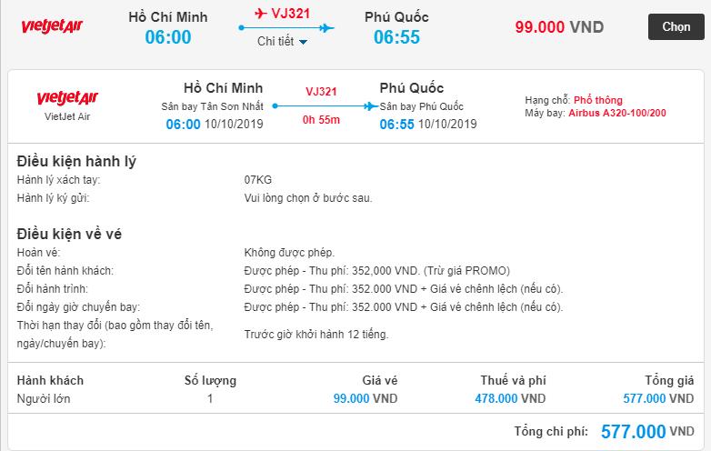 Chi tiết giá vé máy bay từ Hồ Chí Minh đi Phú Quốc của Vietjet