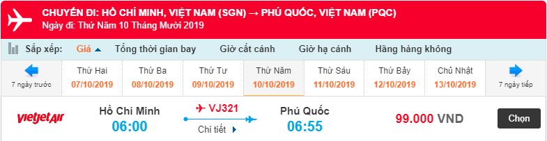 Giá vé máy bay từ Hồ Chí Minh đi Phú Quốc của Vietjet