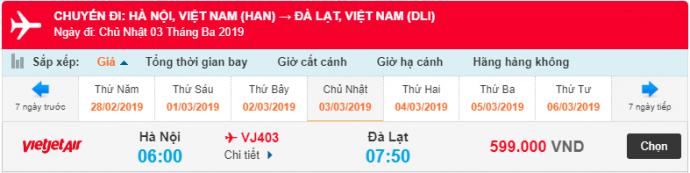 Giá vé máy bay Hồ Chí Minh đi Đà Lạt