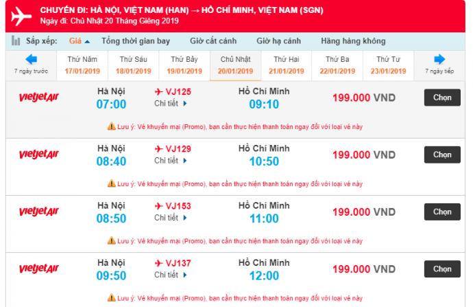 Giá vé máy bay từ Hà Nội đi Hồ Chí Minh