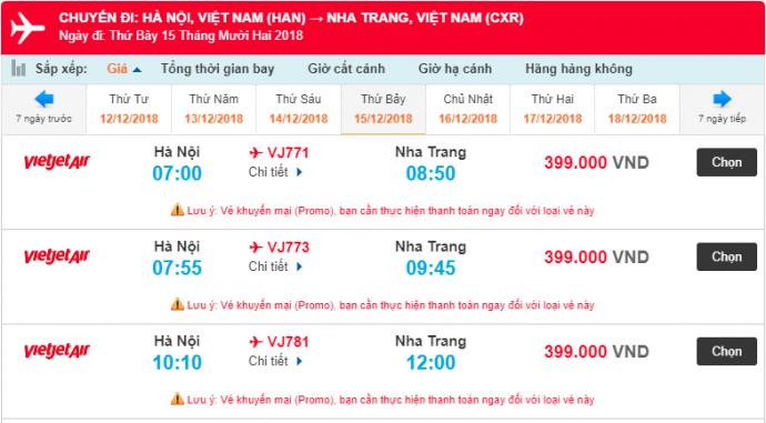Giá vé máy bay từ Hà Nội đến Nha Trang