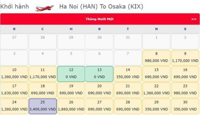 Vé máy bay 0 đồng từ Hà Nội đi Osaka
