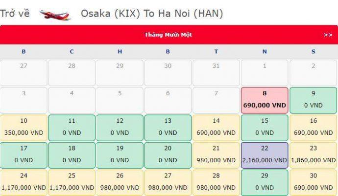 Vé máy bay 0 đồng từ Osaka đi Hà Nội