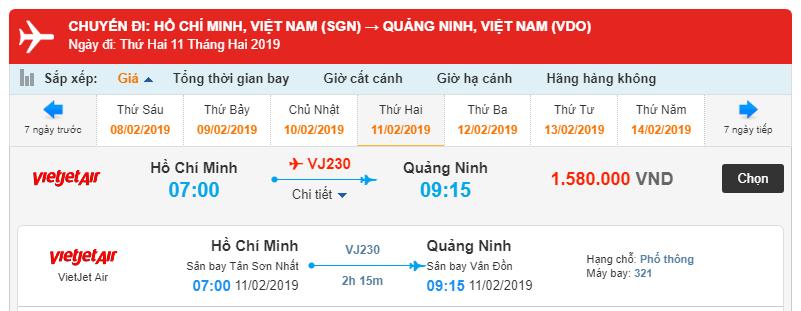 Giá vé máy bay Hồ Chí Minh đi Vân Đồn