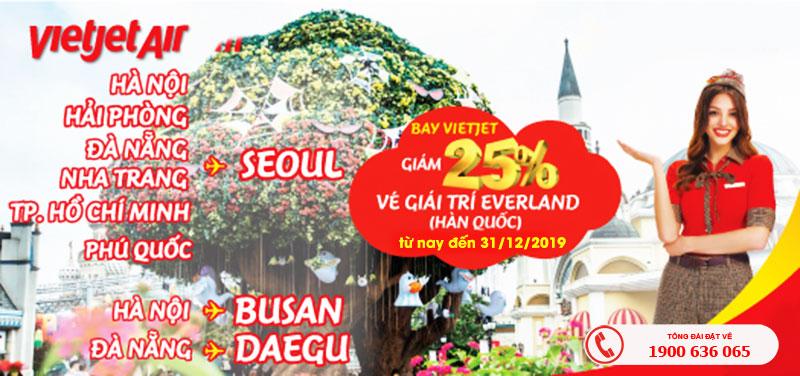 Bay cùng Vietjet Air giảm ngay 25% vé vào cổng Everland