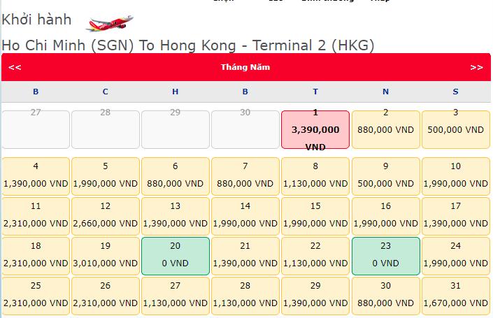 Vé máy bay khuyến mãi Hồ Chí Minh đi Hong Kong