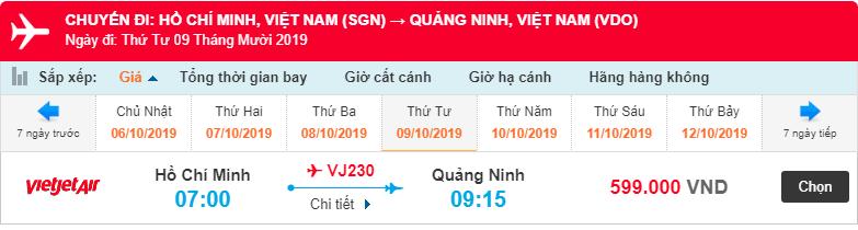 Giá vé máy bay từ Hồ Chí Minh đi Vân Đồn của Vietjet Air