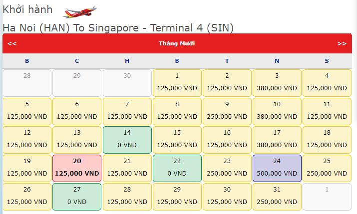 Khuyến mãi 0 đồng Vietjet Hà Nội đi Singapore