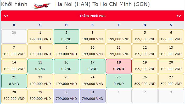 vé máy bay Hà Nội đi Hồ Chí Minh khuyến mãi