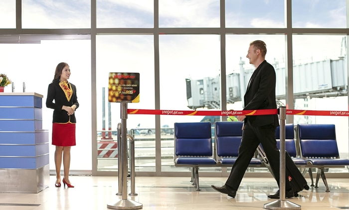 Hạng SkyBoss được phục vụ ưu tiên tại quầy, có lối đi riêng.