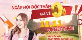 Khuyến mãi ngày hội độc thân Vietjet Air vé máy bay chỉ từ 0 đồng