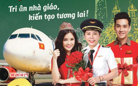 Tri ân nhà giáo Vietjet Air khuyến mãi vé máy bay 0 đồng