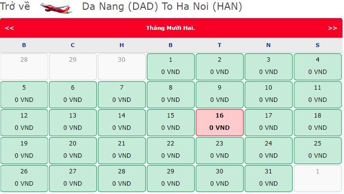 Vé máy bay 0 đồng hành trình Đà Nẵng đi Hà Nội