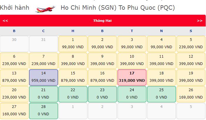 Vé máy bay 0 đồng hành trình Hồ Chí Minh đi Phú Quốc