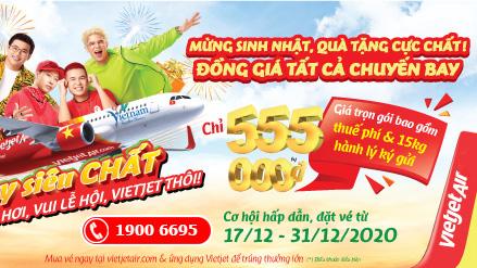 Vietjet Air khuyến mãi mừng sinh nhật đồng giá 555.000 VND
