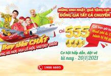 Vietjet khuyến mãi năm mới cực chất đồng giá chỉ từ 555.000 VND