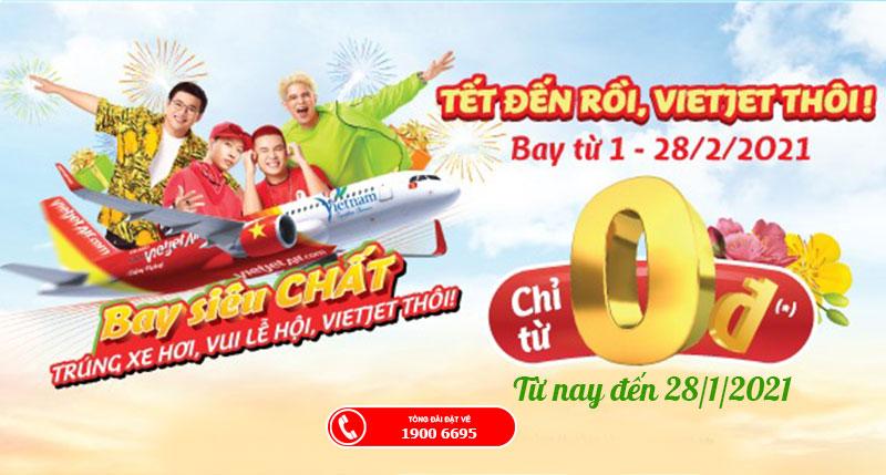 Vietjet Air khuyến mãi vé máy bay Tết chỉ từ 0 đồng rộn ràng du xuân