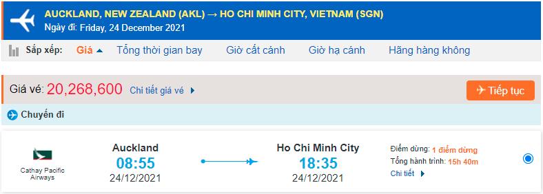 Vé máy bay từ New Zealand về Hồ Chí Minh