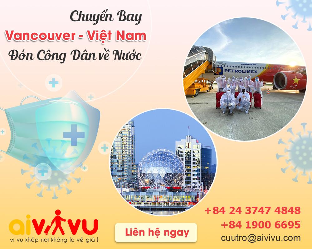 Vé máy bay từ Vancouver về Việt