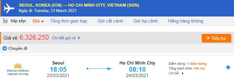 Vé máy bay từ Hàn Quốc về Hồ Chí Minh