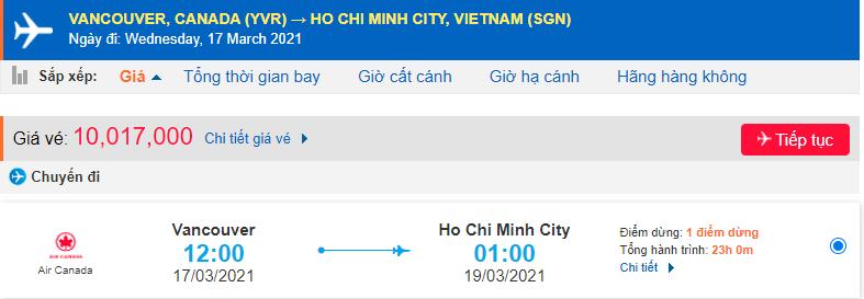 Vé máy bay từ Vancouver về Việt Nam - HCM