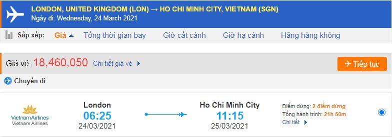 Vé máy bay từ Anh về Việt Nam - HCM