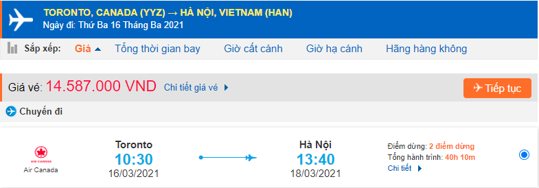 Vé máy bay từ Toronto về Việt Nam Air Canada