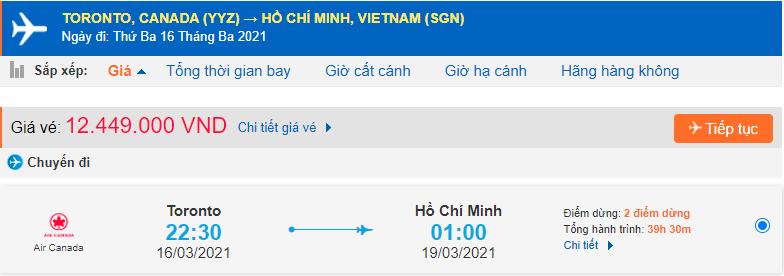 Vé máy bay từ Toronto về HCM