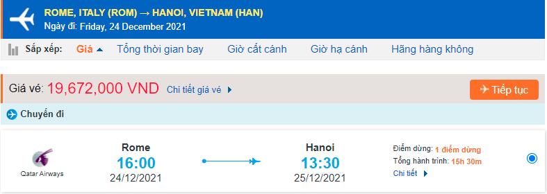 Giá vé máy bay từ Ý Italia về Hà Nội