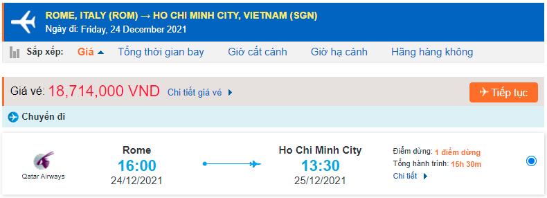 Vé máy bay từ Italia Ý về Hồ Chí Minh
