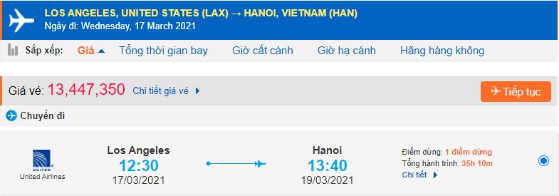 Vé máy bay từ Los Angeles về Việt Nam