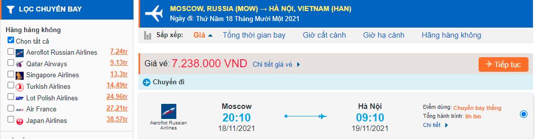 Vé máy bay từ Nga về Việt Nam - Hà Nội