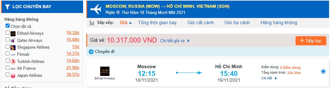 Vé máy bay từ Nga về Việt Nam - HCM