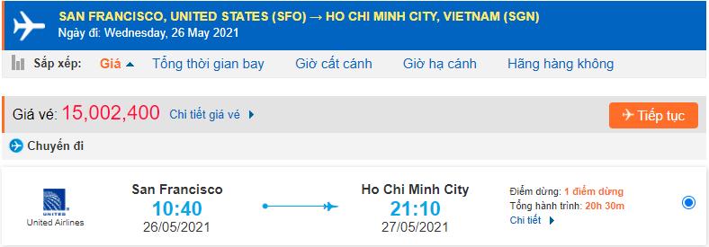 Vé máy bay từ San Francisco về Việt Nam - HCM